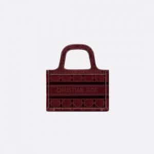 Dior Burgundy Oblique Embroidered Velvet Mini Book Tote Bag