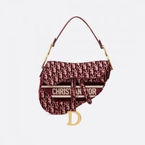 Dior Burgundy Oblique Embroidered Velvet Saddle Bag
