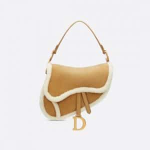 Dior Caramel-Colored Shearling Saddle Bag