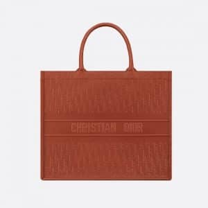Dior Dark Tan Oblique Embossed Book Tote Bag