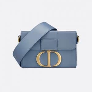 Dior Denim Blue Box Calfskin 30 Montaigne Box Bag