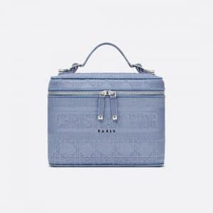 Dior Denim Blue Diortravel Vanity Case Bag