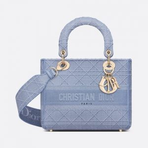 Dior Denim Blue Embroidered Medium Lady D-Lite Bag