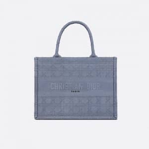 Dior Denim Blue Embroidered Small Book Tote Bag