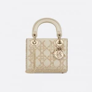 Dior Metallic Beaded Mini Lady Dior Bag