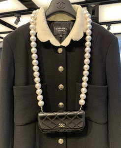 Chanel Black Mini Flap Bag with Pearl Strap 2
