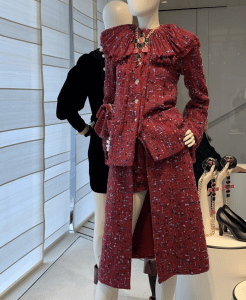 Chanel Red Tweed Coat and Skirt