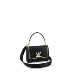 Louis Vuitton Black Epi with Chain Print Twist MM Bag