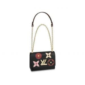 Louis Vuitton Black Monogram Flowers Twist MM Bag