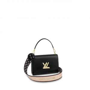 Louis Vuitton Black Twist MM Bag with Monogram Flower Strap