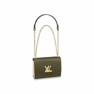Louis Vuitton Khaki Green:Cream Twist MM Bag