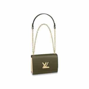 Louis Vuitton Khaki Green:Cream Twist MM Bag