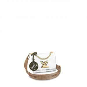 Louis Vuitton White Twist PM Bag with Jacquard Strap