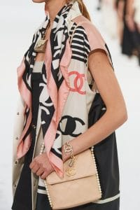 Chanel Beige Flap Bag with Pearl Strap 2 - Spring 2021