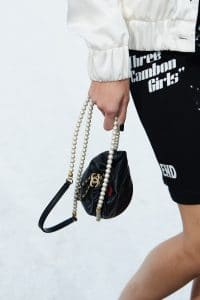 Chanel Black Drawstring Bag with Pearl Strap - Spring 2021