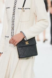 Chanel Black Flap Bag with Pearl Strap - Spring 2021