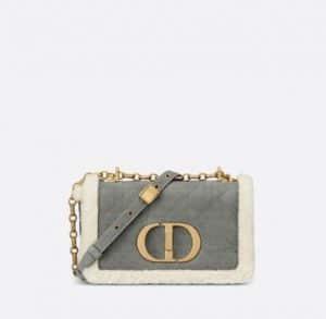 Dior Grey Caro Shearling Bag - Cruise 2021