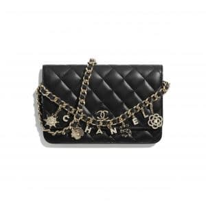 Chanel Black Coco Charms Wallet on Chain