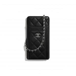 Chanel Black Grained Calfskin Clutch with Chain
