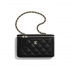 Chanel Black Lambskin Classic Small Vanity With Chain
