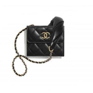 Chanel Black Lambskin Mini Clutch with Chain