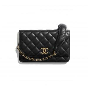 Chanel Black Lambskin with Gold Tone Metal Wallet on Chain