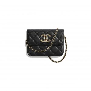 Chanel Black Lambskin:Zirconium Mini Clutch with Chain