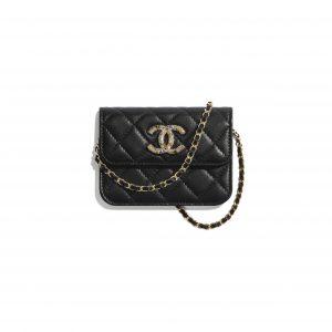 Chanel Black Lambskin:Zirconium Mini Clutch with Chain