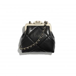 Chanel Black Shiny Aged Lambskin Clutch with Chain