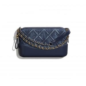 Chanel Blue Denim Gabrielle Clutch with Chain