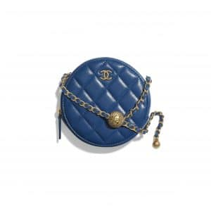 Chanel Blue Pearl Crush Round Clutch with Chain