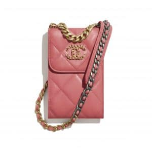 Chanel Coral Lambskin Chanel 19 Phone Holder with Chain
