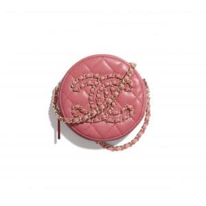 Chanel Coral Lambskin Round Clutch with Chain