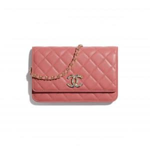 Chanel Coral Lambskin/Zirconium Wallet on Chain