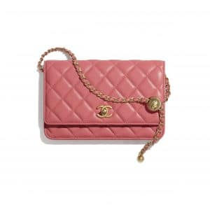 Chanel Coral Pearl Crush Wallet on Chain