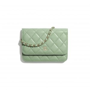 Chanel Green Lambskin Mini Wallet on Chain