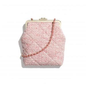Chanel Pink Tweed Phone Holder with Chain