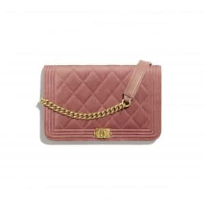Chanel Pink Velvet Boy Chanel Wallet on Chain
