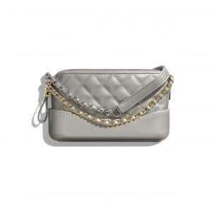 Chanel Silver Lambskin Gabrielle Clutch with Chain