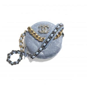 Chanel Sky Blue Sequins Chanel 19 Clutch with Chain