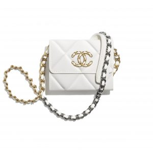Chanel White Lambskin Chanel 19 Flap Coin Purse with Chain