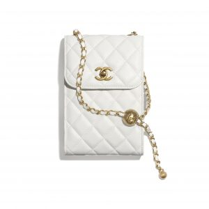 Chanel White Pearl Crush Phone Holder with Chain