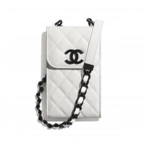 Chanel White/Black My Everything Clutch with Chain