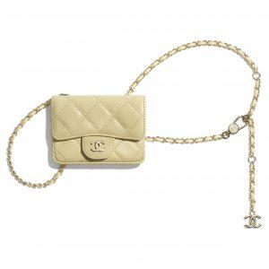 Chanel Yellow Lambskin Classic Belt Bag