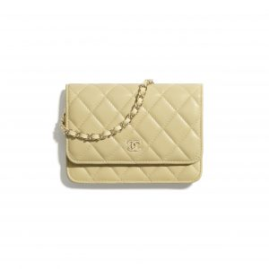 Chanel Yellow Lambskin Mini Wallet on Chain