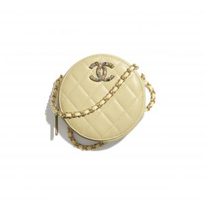 Chanel Yellow Lambskin/Zirconium Clutch with Chain