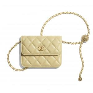 Chanel Yellow Pearl Crush Clutch with Chain