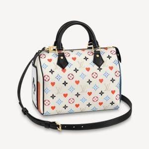 Louis Vuitton White Game On Monogram Speedy Bandoulière 25 Bag