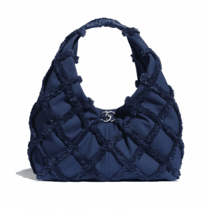 Chanel Navy Blue Cotton Canvas Large Hobo Bag