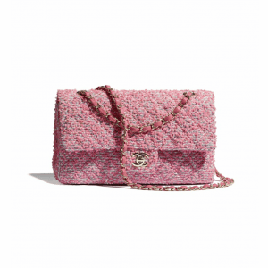 Chanel Pink/White/Gray Tweed Medium Classic Flap Bag